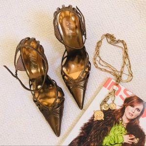 WILD PAIR Bronze Leather Pointy-toe Heels Size 7